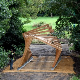 Twisted frame over bridge
