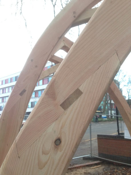 oak wedged scarf Joint detail