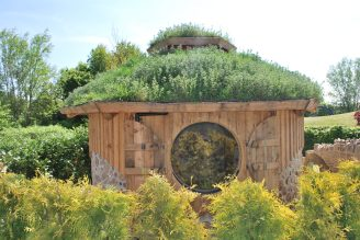 cordwood round house at columbia grange