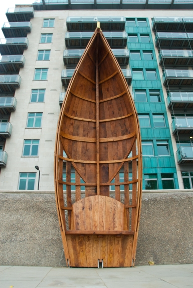 White Hart dock, Standing boats 1, sculptural seating on the Thames enbankment