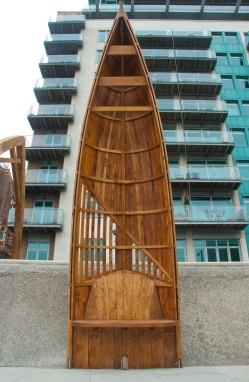 White Hart dock, Standng boats 2, sculptural seating on the Thames enbankment