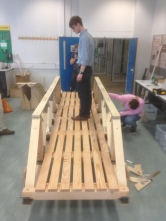 Truss bridge being loaded for first time by the arup's engineering designer