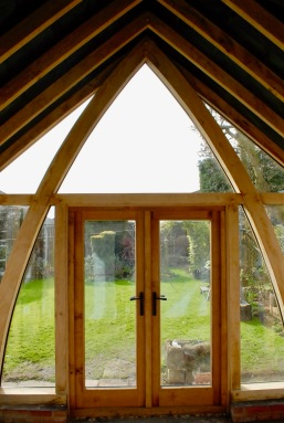 Oak Conservatory inside looking at cruck