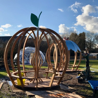 Double Apple Shelter installation 1