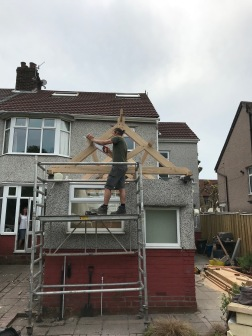 Kitchen Roof cutting purlins