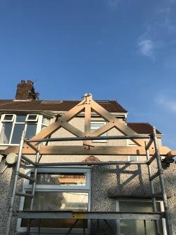 Kitchen Roof first kingpost truss
