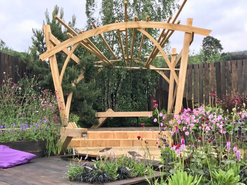 RHS Chatsworth Pergola and Bench.1