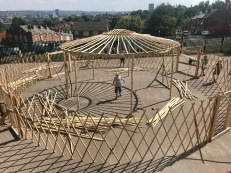 Yurt during construction from above