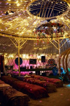 yurt inside with lights