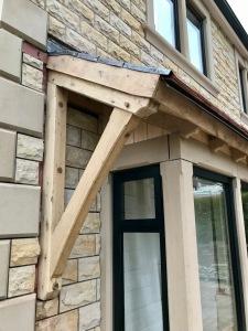 Oak Porch, left hand wall brace