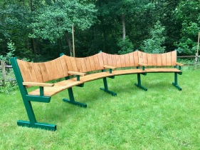 Curved Bench with Steel frame 4